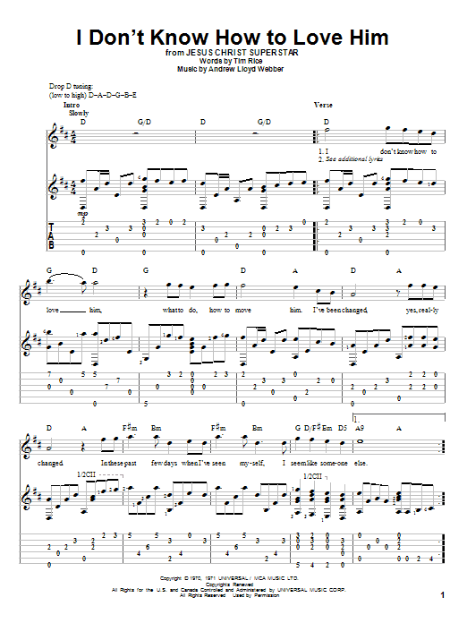 Tablature guitare I Don't Know How To Love Him de Andrew Lloyd Webber - Tablature Guitare