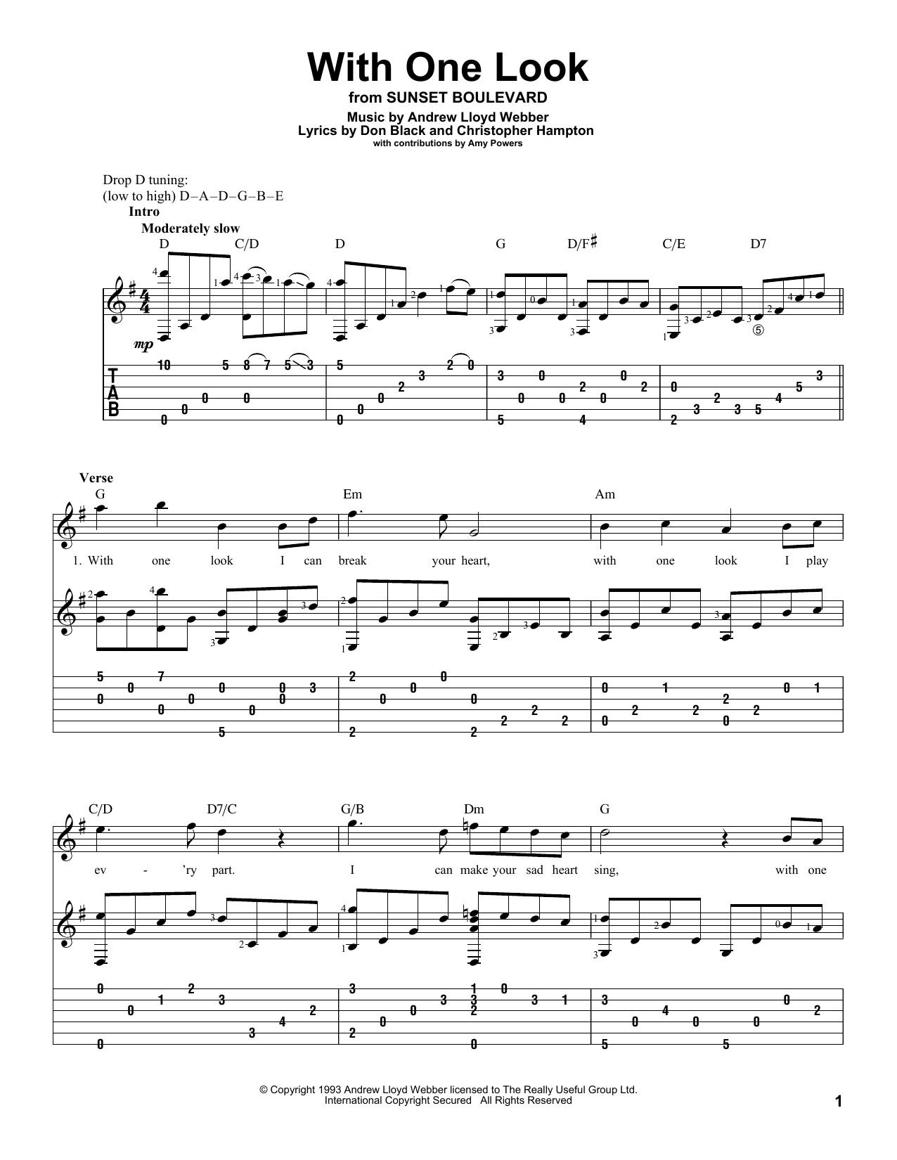 Tablature guitare With One Look de Andrew Lloyd Webber - Tablature Guitare
