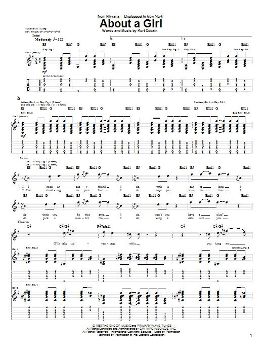 Tablature guitare About A Girl de Nirvana - Tablature Guitare