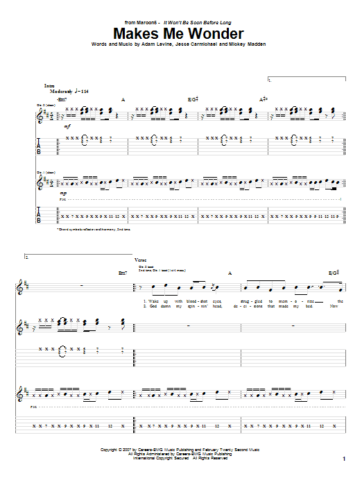 Tablature guitare Makes Me Wonder de Maroon 5 - Tablature Guitare