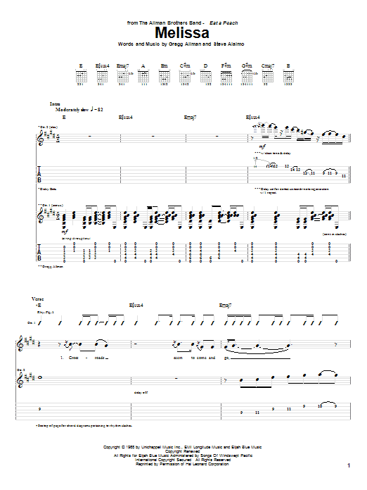Melissa sheet music for guitar solo (tablature) by Steve Alaimo