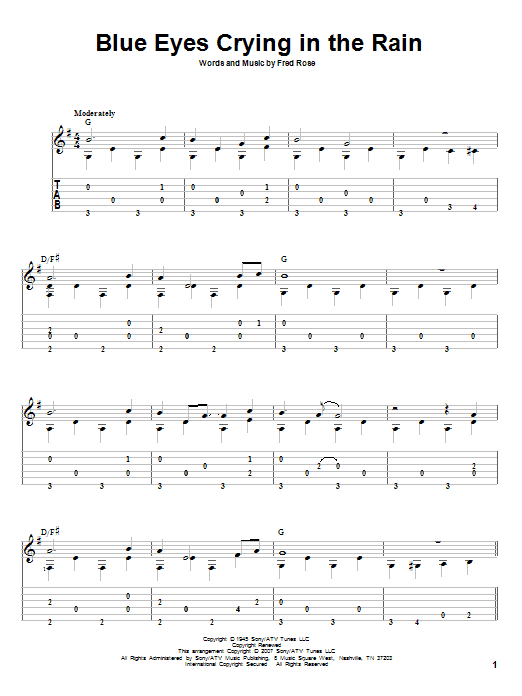 Blue Eyes Crying In The Rain sheet music for guitar solo by Fred Rose