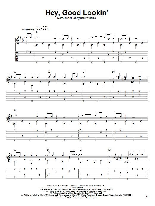 Tablature guitare Hey, Good Lookin' de Hank Williams - Tablature Guitare