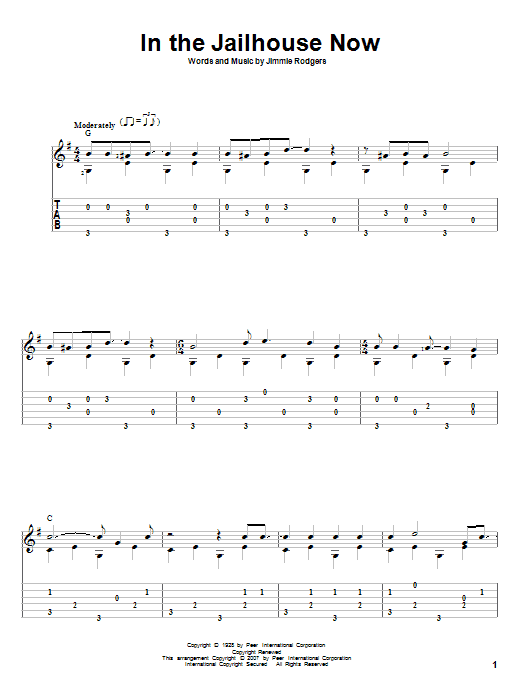 Tablature guitare In The Jailhouse Now de Jimmie Rodgers - Tablature Guitare
