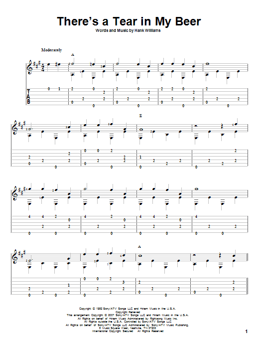 Tablature guitare There's A Tear In My Beer de Hank Williams - Tablature Guitare