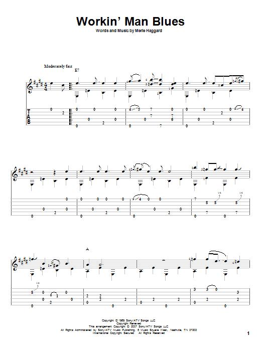 Tablature guitare Workin' Man Blues de Merle Haggard - Tablature Guitare