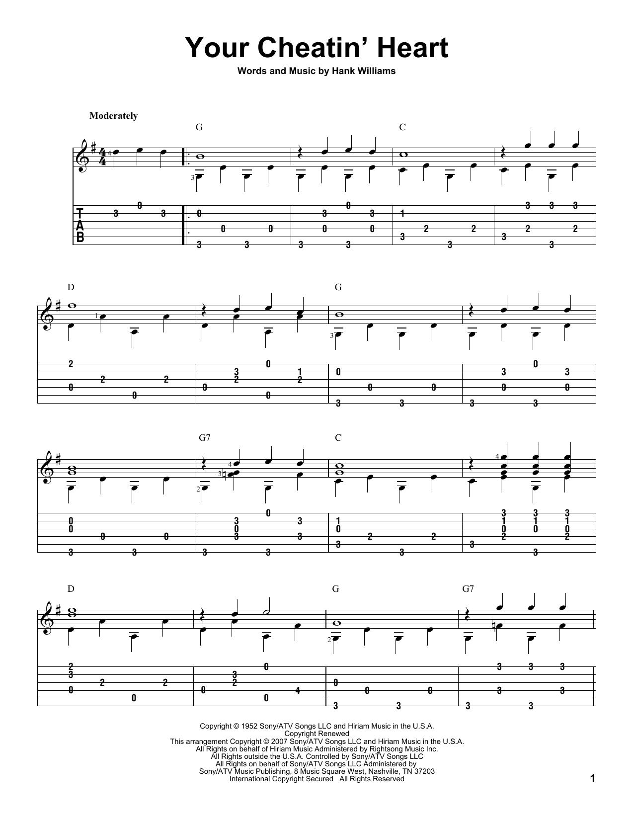 Tablature guitare Your Cheatin' Heart de Hank Williams - Tablature Guitare