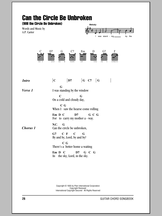 Can The Circle Be Unbroken (Will The Circle Be Unbroken) sheet music for guitar solo (chords, lyrics, melody) by A.P. Carter