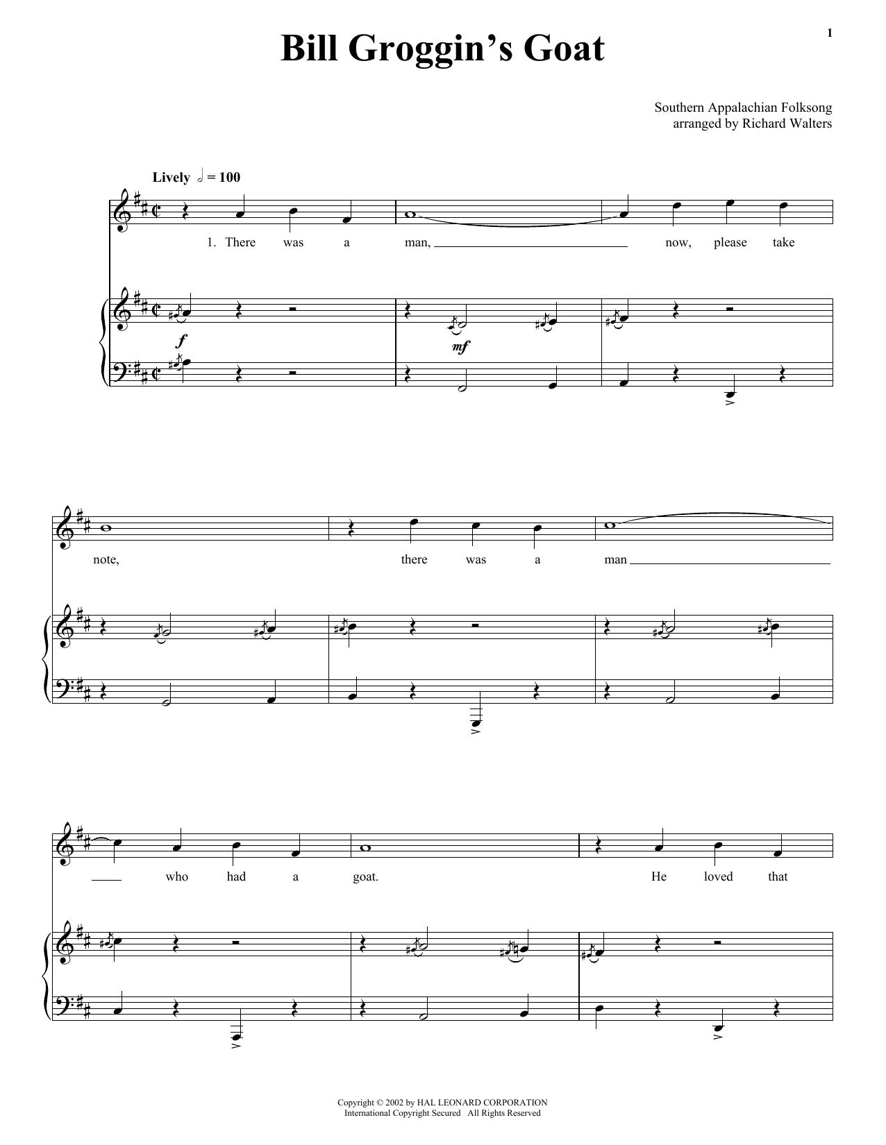 Partition piano Bill Grogan's Goat de 19th Century American Folksong - Piano Voix Guitare (Mélodie Main Droite)