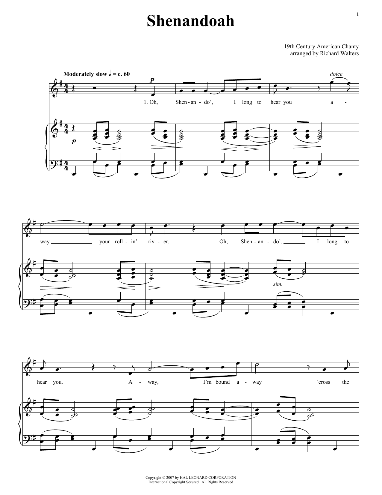 Shenandoah sheet music for voice and piano