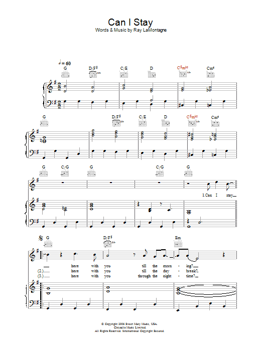 Can I Stay sheet music for voice, piano or guitar by Ray LaMontagne