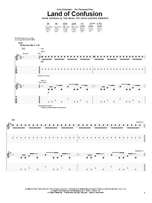 Tablature guitare Land Of Confusion de Genesis - Tablature Guitare