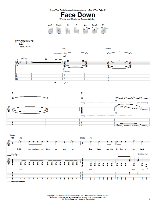 Tablature guitare Face Down de The Red Jumpsuit Apparatus - Tablature Guitare