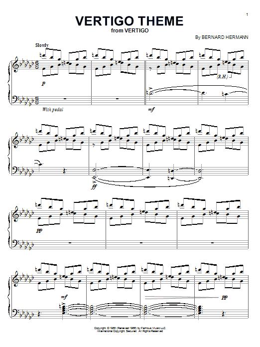 Partition piano Vertigo Theme de Bernard Hermann - Piano Solo