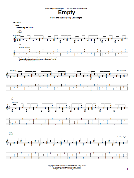 Tablature guitare Empty de Ray LaMontagne - Tablature Guitare