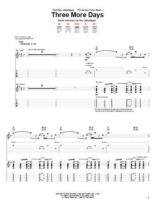 Tablature guitare Three More Days de Ray LaMontagne - Tablature Guitare