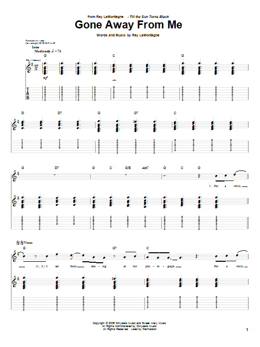 Tablature guitare Gone Away From Me de Ray LaMontagne - Tablature Guitare