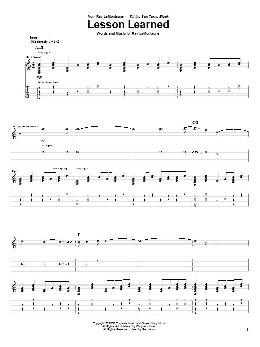 Tablature guitare Lesson Learned de Ray LaMontagne - Tablature Guitare