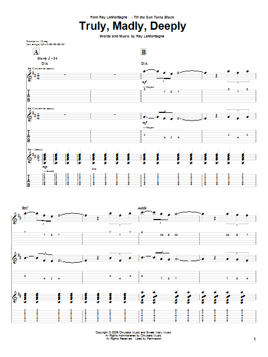 Tablature guitare Truly, Madly, Deeply de Ray LaMontagne - Tablature Guitare