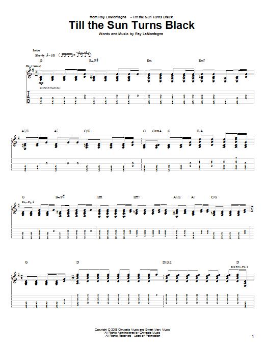 Tablature guitare Till The Sun Turns Black de Ray LaMontagne - Tablature Guitare