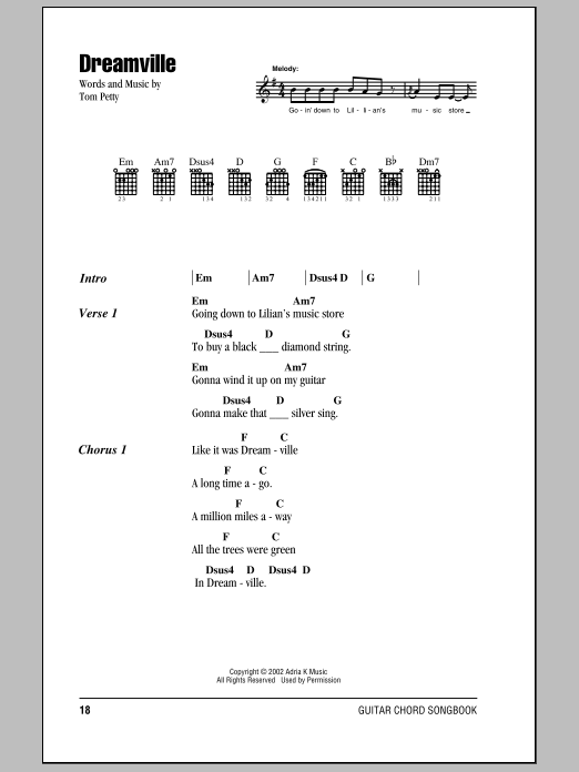 Sheet Music Digital Files To Print - Licensed Tom Petty Digital ...
