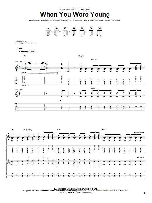 Tablature guitare When You Were Young de The Killers - Tablature Guitare