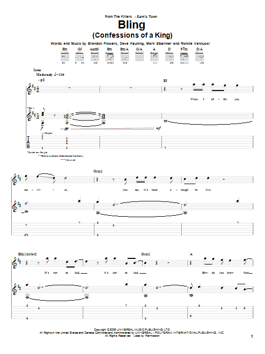 Tablature guitare Bling (Confessions Of A King) de The Killers - Tablature Guitare