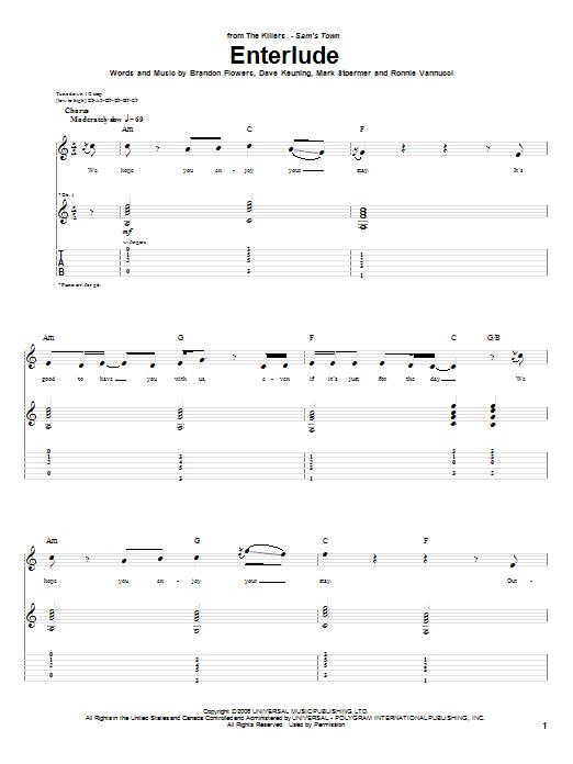 Tablature guitare Enterlude de The Killers - Tablature Guitare