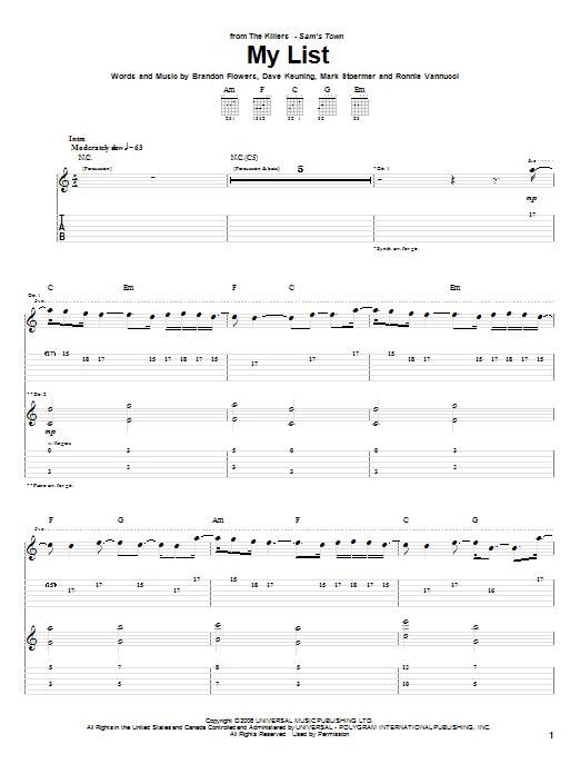 Tablature guitare My List de The Killers - Tablature Guitare