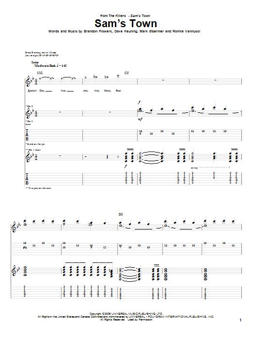 Tablature guitare Sam's Town de The Killers - Tablature Guitare