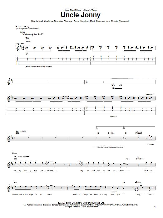 Tablature guitare Uncle Jonny de The Killers - Tablature Guitare
