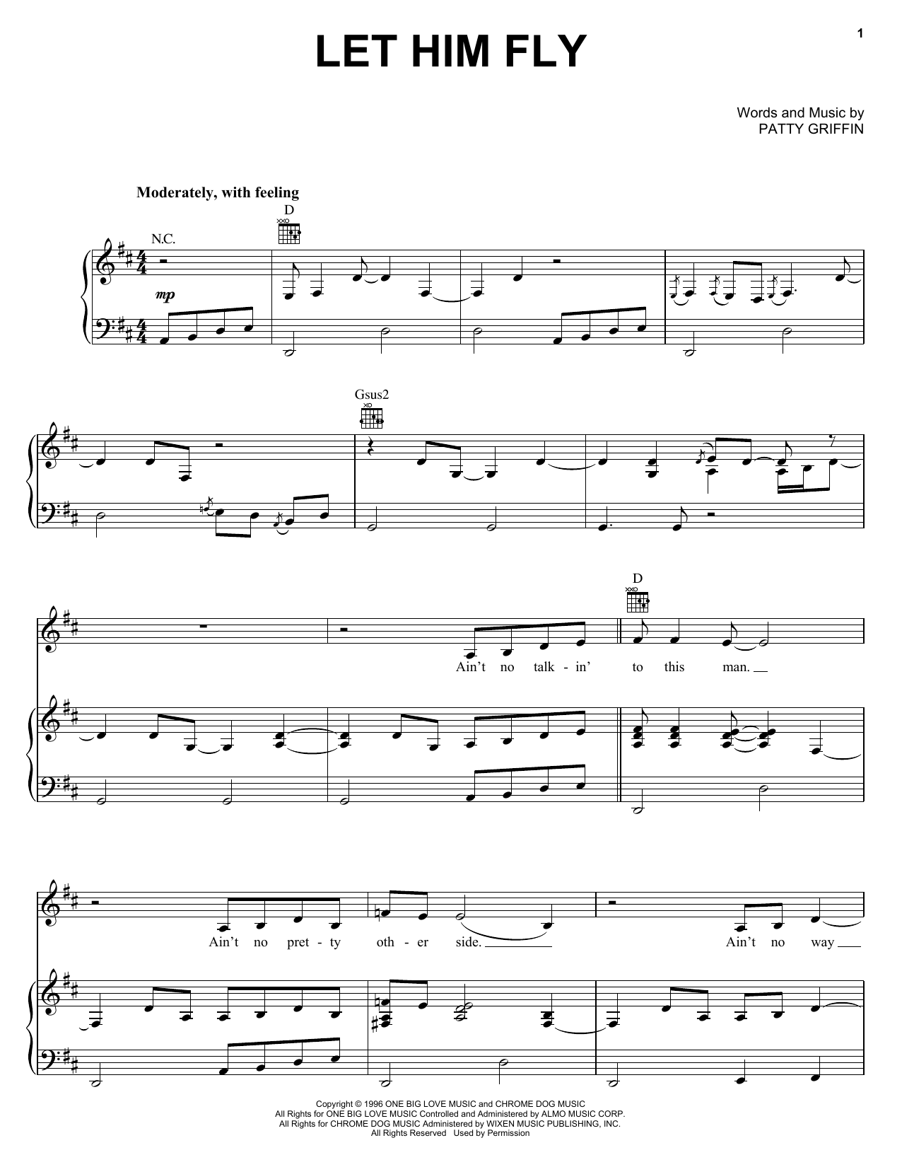 Let Him Fly sheet music for voice, piano or guitar by Jessica Simpson