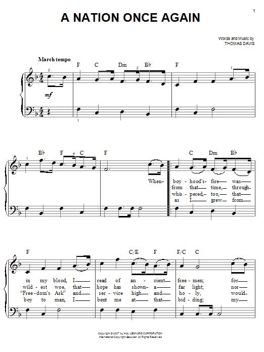 Partition piano A Nation Once Again de Thomas Davis - Piano Facile