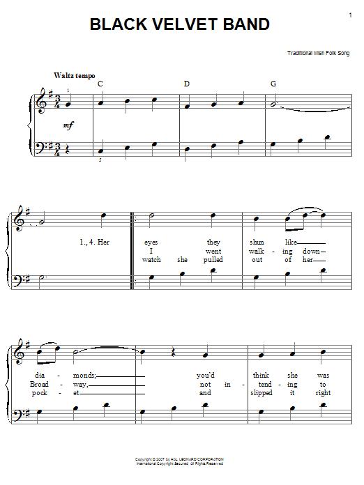 Partition piano Black Velvet Band de Traditional Irish Folk Song - Piano Facile