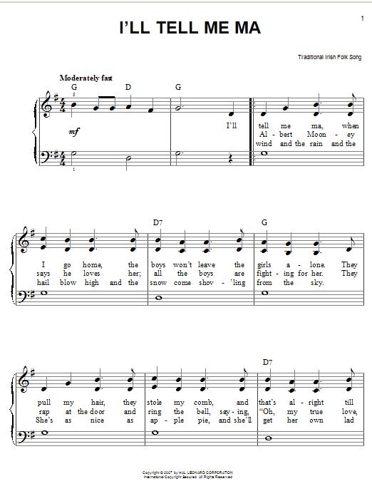 Partition piano I'll Tell Me Ma de Traditional Irish Folk Song - Piano Facile