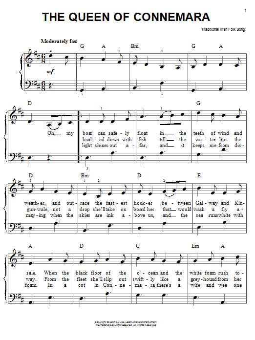 Partition piano The Queen Of Connemara de Traditional Irish Folk Song - Piano Facile