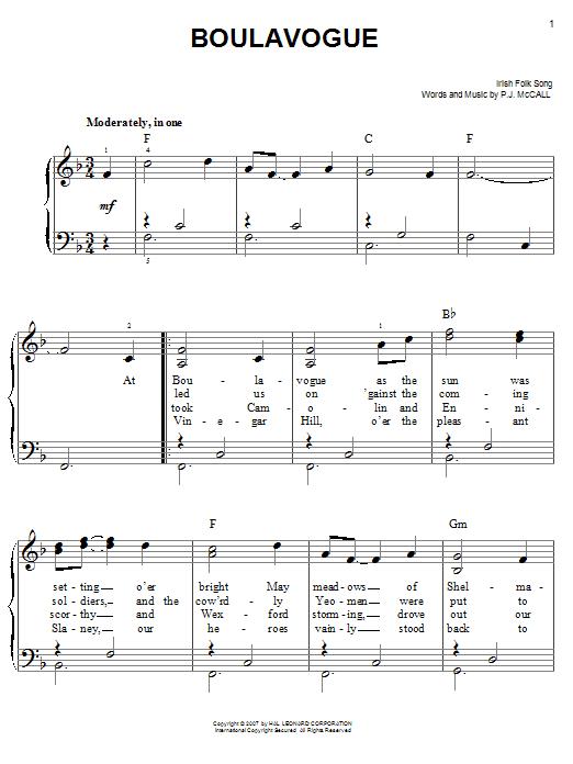 Partition piano Boulavogue de Traditional Irish Folk Song - Piano Facile