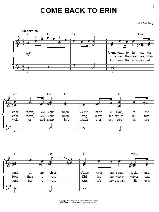 Partition piano Come Back To Erin de Traditional Irish Folk Song - Piano Facile