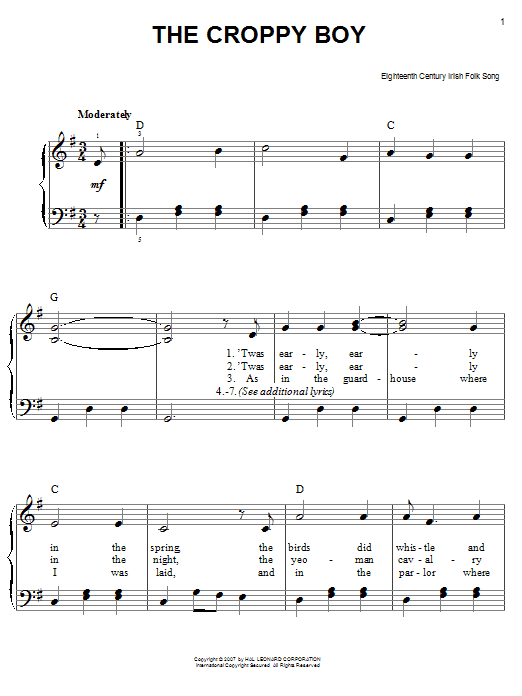 The Croppy Boy sheet music for piano solo (chords)