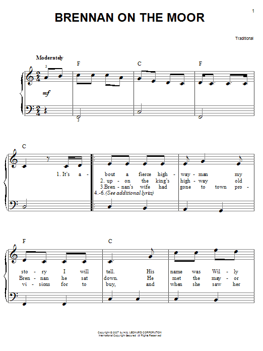 Partition piano Brennan On The Moor de Traditional - Piano Facile