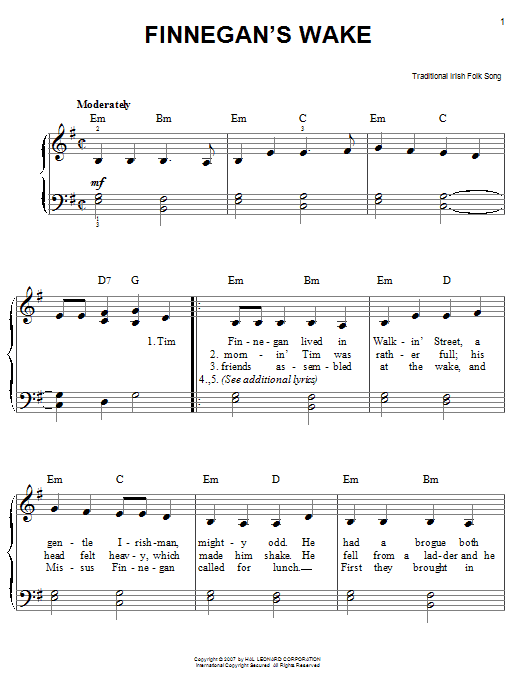 Partition piano Finnegan's Wake de Traditional Irish Folk Song - Piano Facile