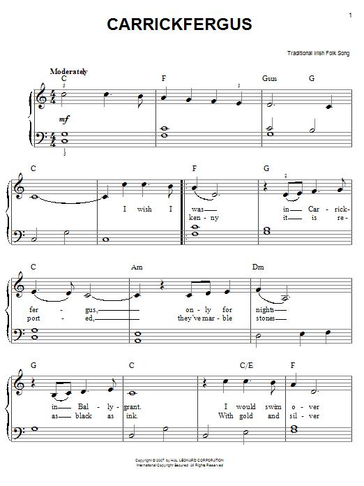 Partition piano Carrickfergus de Traditional Irish Folk Song - Piano Facile