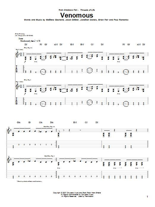 Tablature guitare Venomous de Shadows Fall - Tablature Guitare