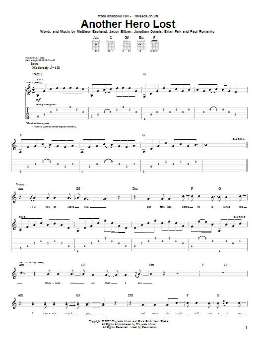 Tablature guitare Another Hero Lost de Shadows Fall - Tablature Guitare