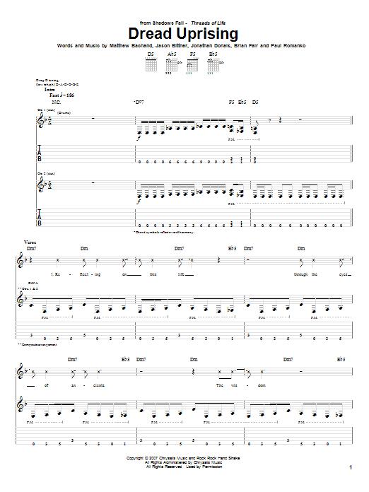 Tablature guitare Dread Uprising de Shadows Fall - Tablature Guitare
