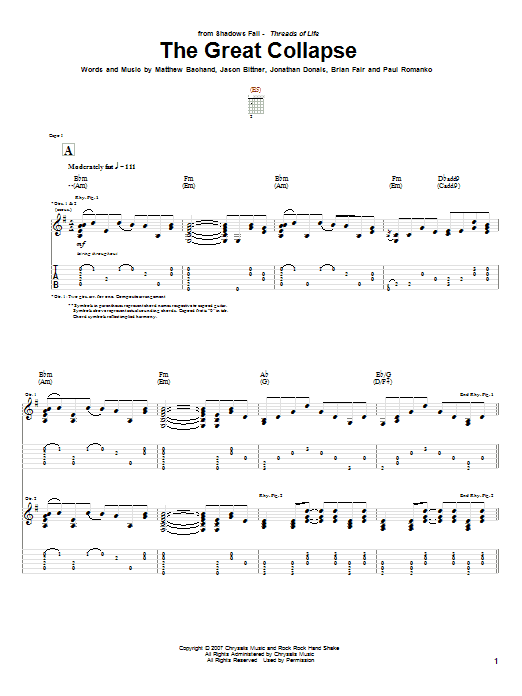 Tablature guitare The Great Collapse de Shadows Fall - Tablature Guitare