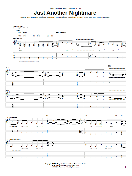 Tablature guitare Just Another Nightmare de Shadows Fall - Tablature Guitare