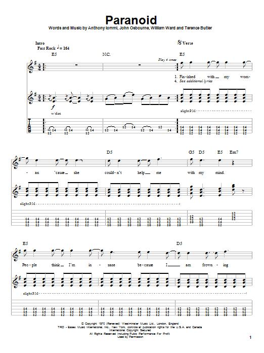 Paranoid by Black Sabbath - Guitar Tab Play-Along - Guitar Instructor