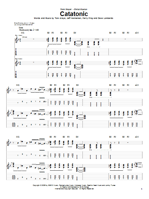 Tablature guitare Catatonic de Slayer - Tablature Guitare