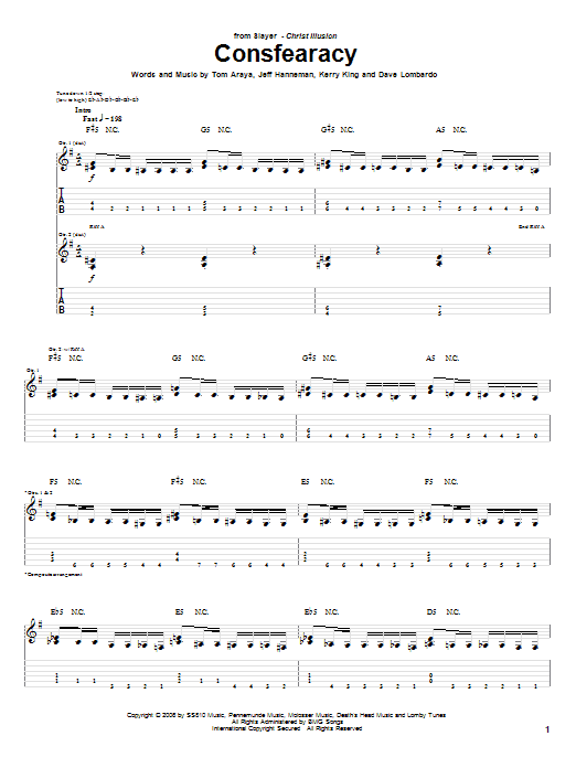 Consfearacy sheet music for guitar solo (tablature) by Tom Araya